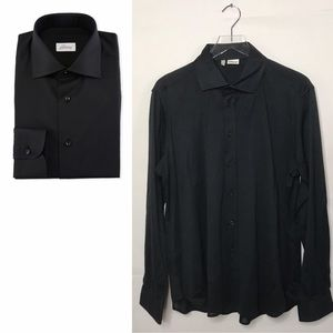 Brioni Textured Solid Dress Shirt Black Cotton XXL